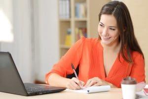 Entrepreneur working taking notes